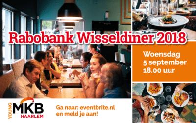 Woensdag 5 september: eet mee bij het Rabobank Wisseldiner!