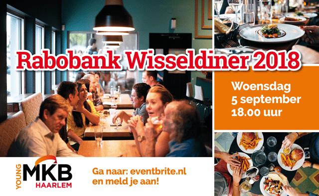Rabobank Wisseldiner tafel met lekkere gerechten en etende mensen